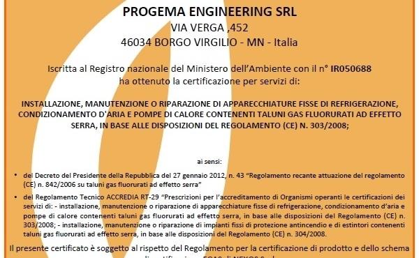 Certificazione CE n°303/2008 2015-2020