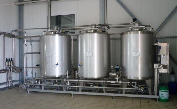 Impianto CIP per linea latte